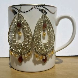 Gold Beaded Crystal Dangle Earrings Porcelain Mug